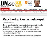 vaccin ger narkolepsi