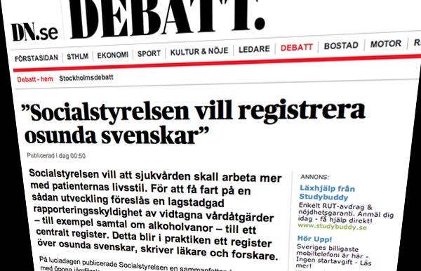 Socialstyrelsen vill registrera osunda svenskar