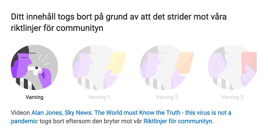 Varning från YouTube angående coronakritiskt inslag i SkyNews från den 17 sep 2020. Bild från YouTube.